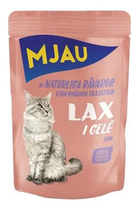 Влажный корм для кошек Mjau Chunks in Jelly, мясные кусочки в желе с лососем, 85г