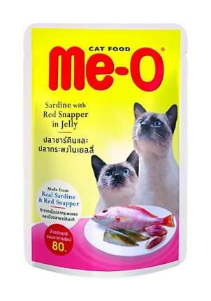 Влажный корм для кошек Me-O Adult, сардины с красным окунем в желе, 80г