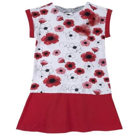 Платье Chicco принт маки бело-красные, размер 98