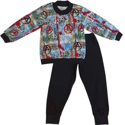 Пижама детская Папитто, цв. разноцветный; черный р.104