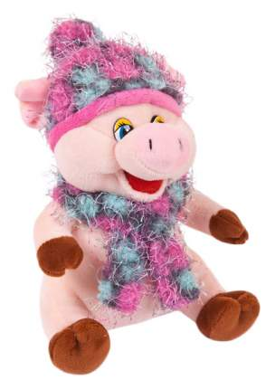 Свинка в розовых шарфике и шапочке, 17 см игрушка мягкая