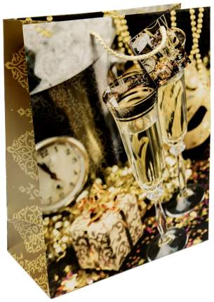 """Пакет бумажный """"Золотые бокалы"""", 26x32,4x12,7 см"""