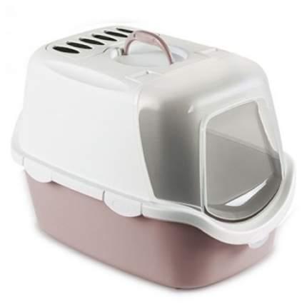 Туалет для кошек Beeztees Cathy, прямоугольный, белый, розовый, 56х40х40 см