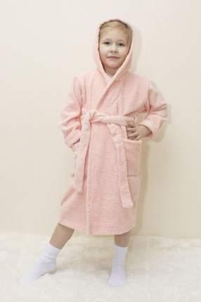 Халат Осьминожка с капюшоном махровый детский персик 122 размер