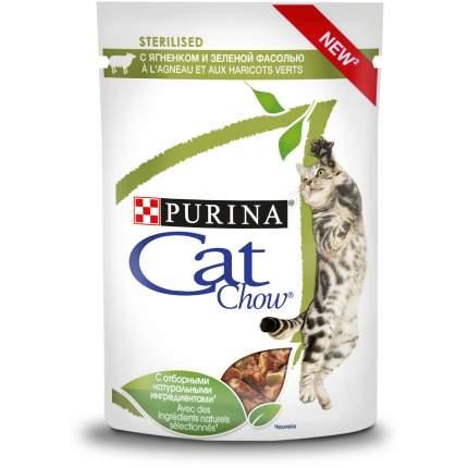 Влажный корм для кошек Cat Chow Sterilised, с ягненком и зеленой фасолью, 24шт по 85г