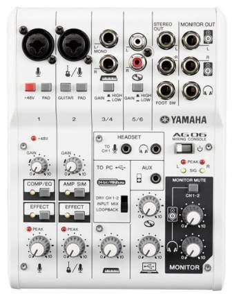 Микшер Yamaha AG06 со встроенной звуковой картой
