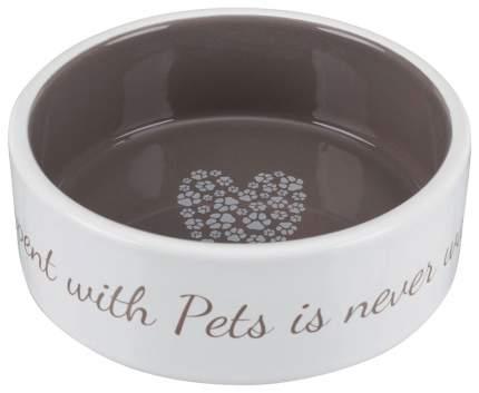 Одинарная миска для кошек и собак TRIXIE, керамика, белый, коричневый, 0.8 л