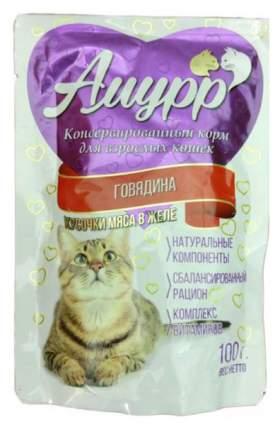 Влажный корм для кошек Амурр, говядина, кусочки, 24шт, 100г
