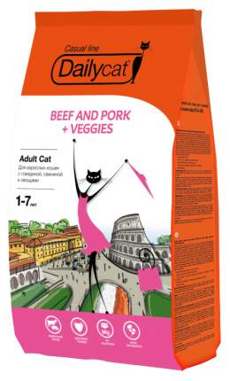 Сухой корм для кошек Dailycat Casual Line, говядина, свинина, овощи, 0,4кг