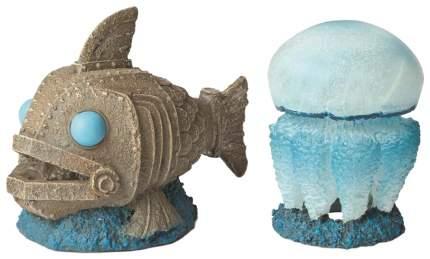 Декорация для аквариума Hydor Медуза и Механическая рыба, полиэфирная смола, 16,1х14х14 см