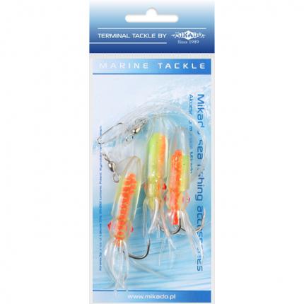 Поводоки для морской ловли Mikado Squid Rig LS-C173 7,5 см, крючки №4/0