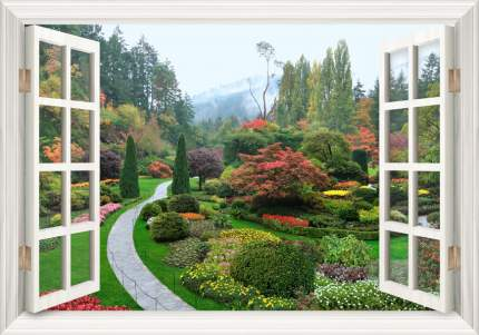 """Набор алмазной мозаики """"Яркие Грани"""" """"Сад в окне"""", размер 72х50см, 55цветов"""