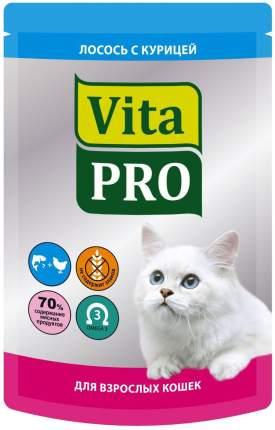 Влажный корм для кошек VitaPRO, с курицей и лососем, 100г
