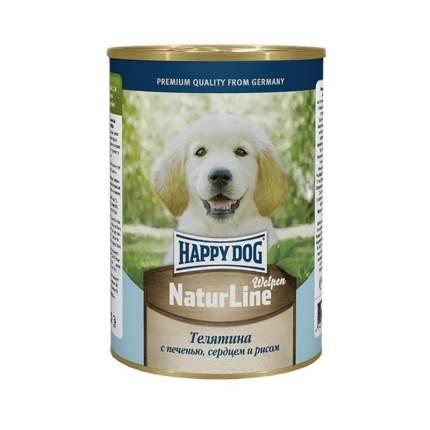 Консервы для щенков Happy Dog NaturLine, телятина, сердце, печень, рис, 20шт, 400г