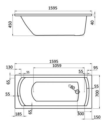 Акриловая ванна Santek Монако 160х70 без гидромассажа