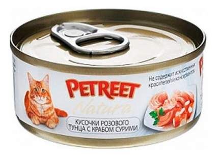 Консервы для кошек Petreet Natura, тунец, краб сурими, 70г