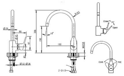 Смеситель для кухонной мойки BRAVAT Drop F74898C-1A хром