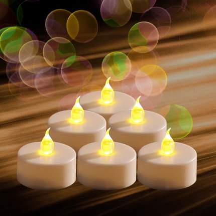 Свеча светодиодная чайная Макси, 2 шт, 6 см, янтарное пламя, батарейка 372644