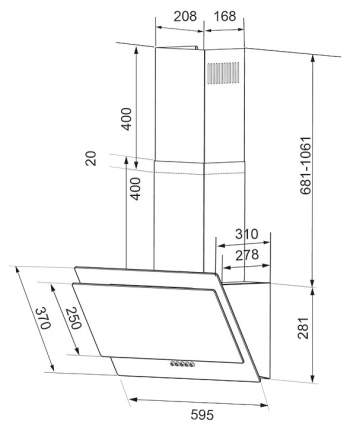 Вытяжка наклонная Shindo Vela Sensor 60 B/BG Black
