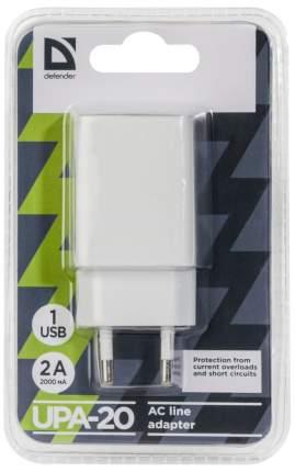Сетевое зарядное устройство Defender UPA-20 1 USB 2A White
