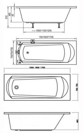 Акриловая ванна Ravak Domino 150х70 без гидромассажа
