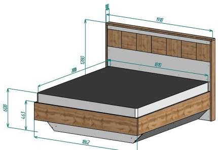 Кровать двуспальная МФ Мелания Аризона 2708 180х200 см, коричневый/белый