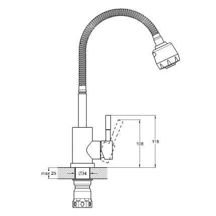 Смеситель для кухонной мойки SOLONE EZA4-A090