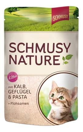 Влажный корм для котят, для беременных и кормящих кошек Schmusy, птица, телятина, 100г