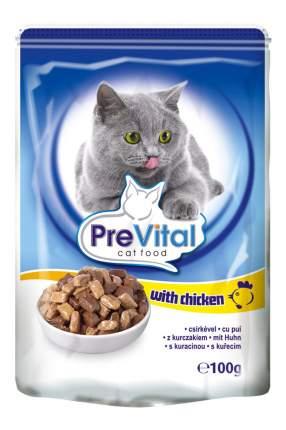 Влажный корм для кошек PreVital Classic, с курицей в соусе, 24шт по 100г