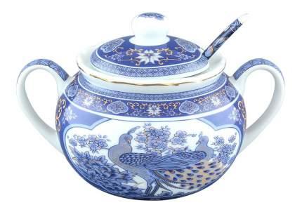 Сахарница Elan Gallery Павлин синий + ложка 15*11*11 см, 350 мл