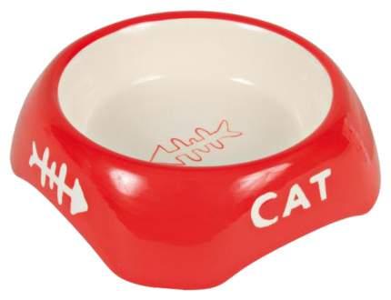 Одинарная миска для кошек TRIXIE, керамика, белый, красный, 0.2 л