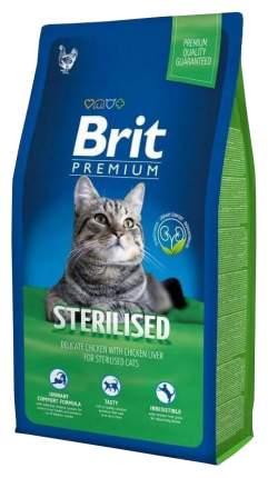 Сухой корм для кошек Brit Premium Sterilised, для стерилизованных, курица, печень, 1,5кг