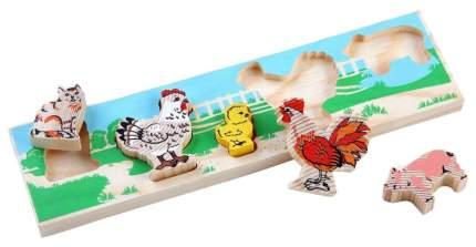 Развивающая игрушка Томик Доска-вкладыш Домашние животные Двор