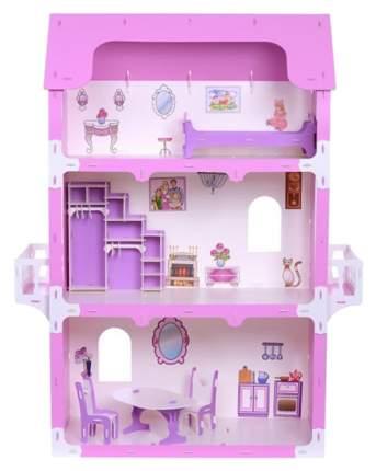 Коттедж Екатерина 263 бело-розовый с мебелью Krasatoys