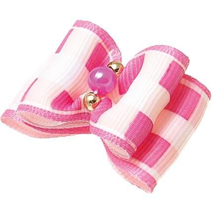 Бантик для собак ZooOne Ностальжи, пара, двойной объёмный, розовый, 3,5х2,5 см
