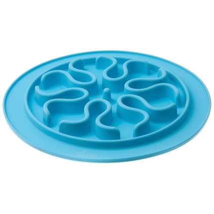 Миска для животных ZooOne силиконовая, рельефная, игровая, голубая