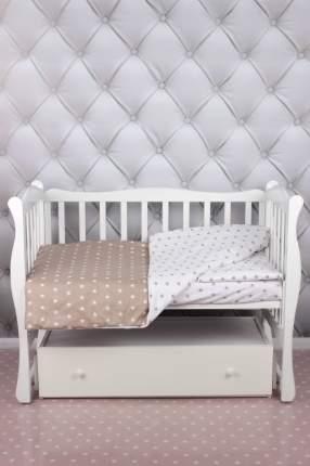 Комплект в кроватку 3 предмета AmaroBaby BABY BOOM (Звезды/коричневый, бязь)