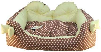 Лежак для собак и кошек Xody Бант, хлопок, коричневый, 52х44х23  см