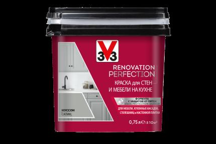 Краска V33 для стен и мебели на кухне RENOVATION Цвет муссон