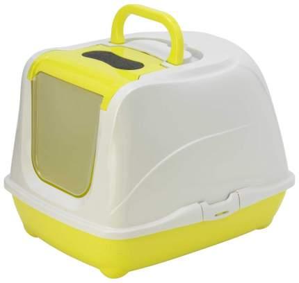 Туалет для кошек MODERNA Flip Cat, прямоугольный, желтый, белый, 58х45х42 см