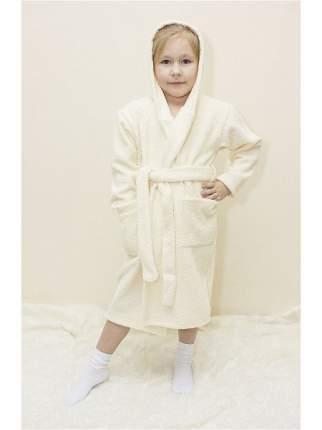 Халат Осьминожка с капюшоном махровый детский молочный 122 размер
