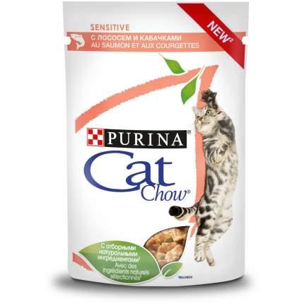Влажный корм для кошек Cat Chow Sensitive, с лососем и кабачками в соусе, 24шт по 85г