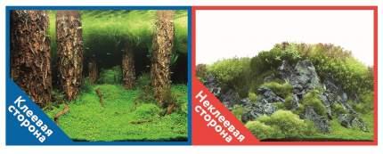 Prime Фон для аквариума Prime самоклеющийся Затопленный лес/Камни с растениями 30x60см