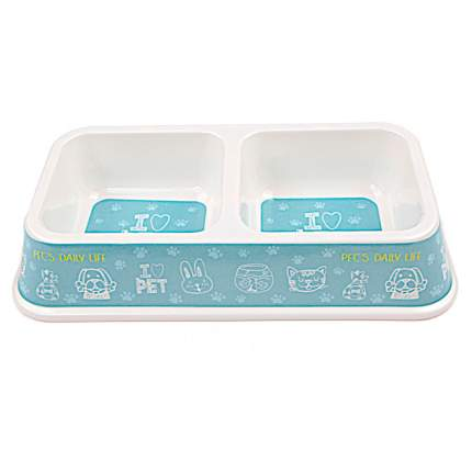 Миска для домашних животных Bobo, двойная, голубая, 330 мл