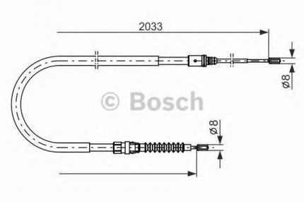 Трос cтояночного тормоза BOSCH 1987482190