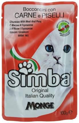 Влажный корм для кошек Simba Cat Pouch, Мясо с горохом, 24шт по 100г