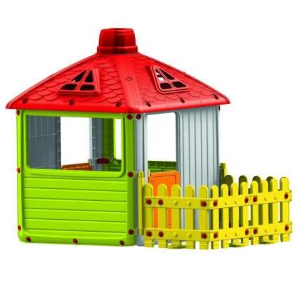 Игровой домик  Dolu для улицы Городской дом с ограждением