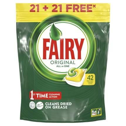 Капсулы для посудомоечной машины Fairy Original All In One Лимон 21+21 (42 штуки)