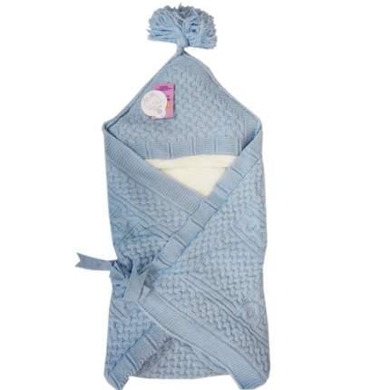 Конверт-одеяло Папитто вязаный  голубой 100*100 3-6мес 6214