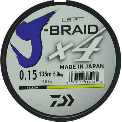 Леска плетеная Daiwa J-Braid X4 135 м 0,15 мм желтая